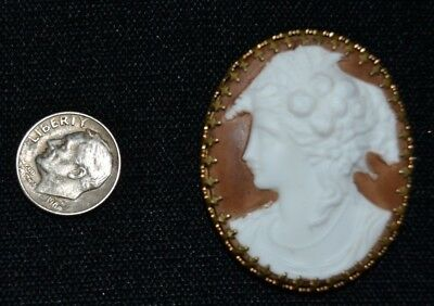 Antique LARGE Hand Carved Hard Stone Cameo Brooch Mid 1800's