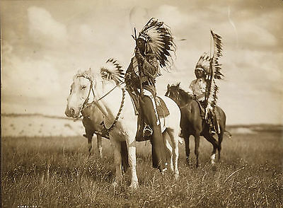 "1905 Photo, Sioux Indians, Chiefs, 20""x16"" Print, Western, Horses Paints, Native"