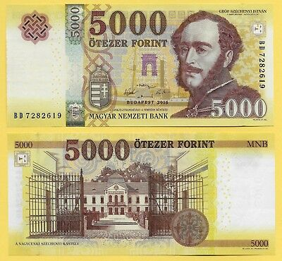 Hungary 5000 Forint p-205 2016 UNC Banknote