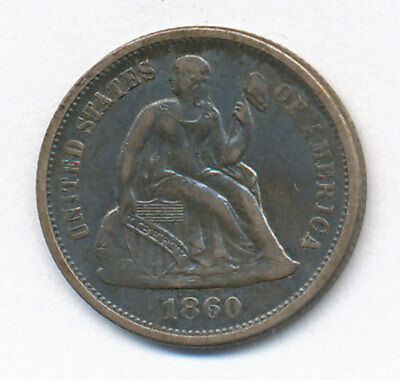 1860 Seated Liberty Silver Dime / 10 Cents U.S. Coin, 2.3 grams