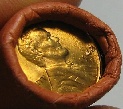 1948 D Obw Original Bank Wrapped Roll Bu Uncirculated Lincoln Wheat Cent Pennies