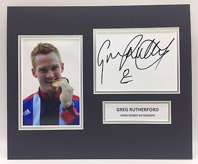 RARE Greg Rutherford Olympics Signed Photo Display + COA AUTOGRAPH LONDON 2012