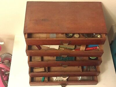 VINTAGE HANDMADE 1940's WOODEN WATCHMAKERS TOOL BOX STORAGE STILL FULL WITH PART