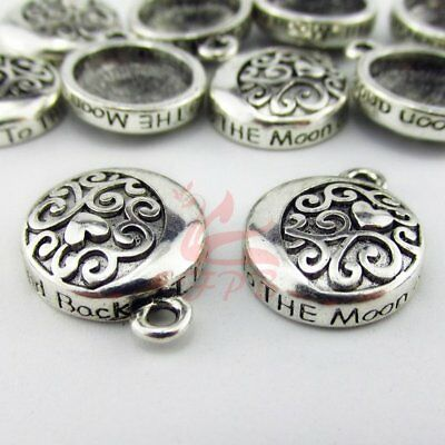 Love You To The Moon And Back 18mm Antiqued Silver Charms SC0080087 - 4/15/30PCs