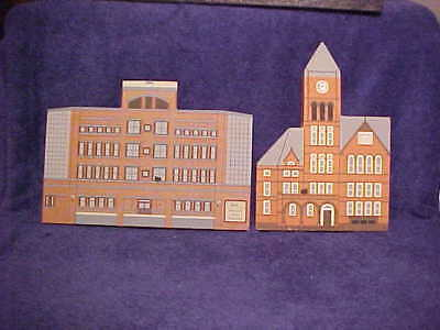 Lot of 2 wooden Shelf Sitters Medical Arts Building, COURTHOUSE Bloomsburg, Pa.