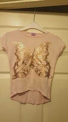 e4e81532 GIRLS TSHIRT PINK Butterfly Motif With Embriodery & Sequins Age 8 ...