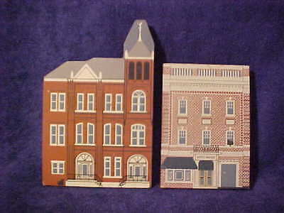 Lot of 2 wooden Shelf Sitters HOTEL MAGEE &TOWN HALL Bloomsburg, Pa. Cats' Meow