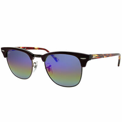 Ray-Ban Clubmaster RB 3016 1222C2 Violet Sunglasses Blue Rainbow Flash Lens a83dec6077