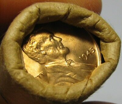 1945 P Obw Original Bank Wrapped Roll Bu Uncirculated Lincoln Wheat Cent Pennies