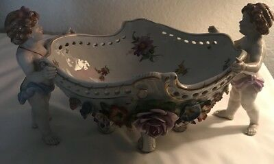 Von Schierholz porcelain flower encrusted pierced centerpiece Bowl