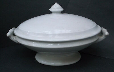 Antique White Ironstone Covered Tureen   MEAKIN & Co.    -  ESTATE FIND