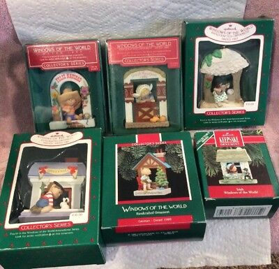 Complete Vintage (6) Windows of the World Hallmark Ornament Set 1985-1990 (#1-6)