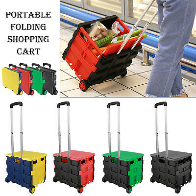 4 Colors Portable Folding Shopping Cart Collapsible Trolley Case Box with Wheels