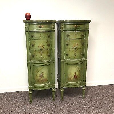 Pair of Hand Painted Tall Narrow Green French Style Gessoed Lingerie Chest