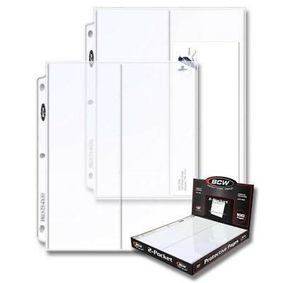 (50) 2 POCKET BCW 4X10 BUSINESS ENVELOPE or FIRST DAY COVER ALBUM BINDER PAGES