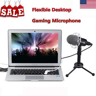 USB Condenser Microphone Game Chat Studio Recording for Computer PC+Tripod Stand