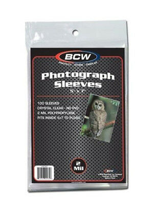 (200) Bcw 5X7 Photo Picture Image Soft Poly Acid Free Storage Sleeve Holders
