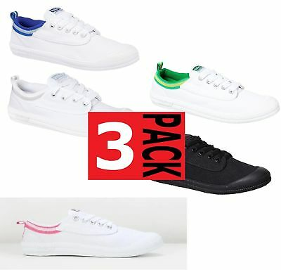 3 x WOMENS DUNLOP VOLLEYS INTERNATIONAL CANVAS CASUAL VOLLEY WHITE PINK SHOES