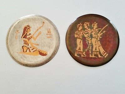 Two Vintage Egyptian Wall Art Copper Hammered Metal Plates Plaques - Musicians