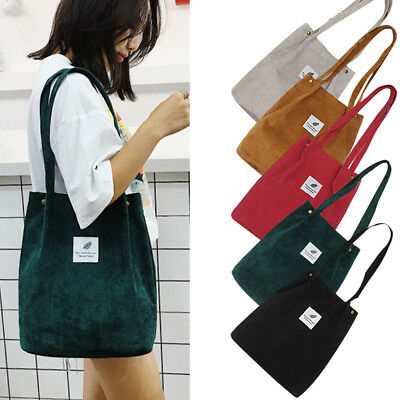 Women Corduroy Shoulder Shopping Bag Tote Package Crossbody Bags Casual Handbag