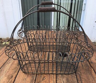 Antique Farm Metal Wire Hanging Basket Plant Holder 24x13x19  Set Of 2 Rare!
