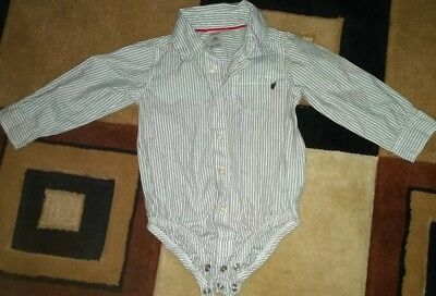 NEW* Carters Baby Boy White with grey stripes button Dress Shirt Size 18 months