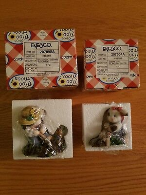 Mary's Moo Moos Figurines lot Girl Digging With Gopher and Girl Planting Seeds