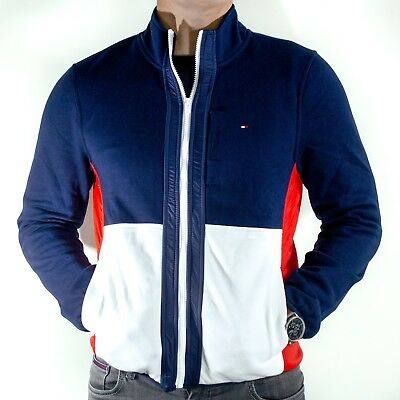 b49ce12f2a98 NWT Mens Tommy Hilfiger Navy Full Zip Fleece Jacket Spelled Out Logo Size M