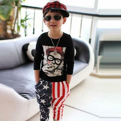 Child Kids Boys Cool Long Pants Bottom Star Pattern Cotton Casual Harem Trousers