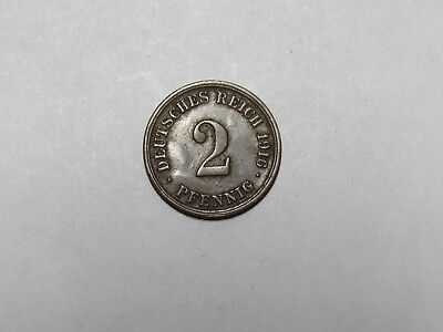 Old Germany Coin - 1916 F 2 Pfennig - Circulated