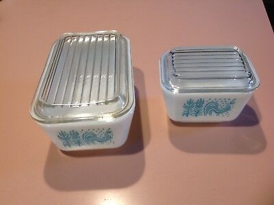 Lot of 2 Vintage Pyrex Turquoise Amish Butterprint Refrigerator Boxes