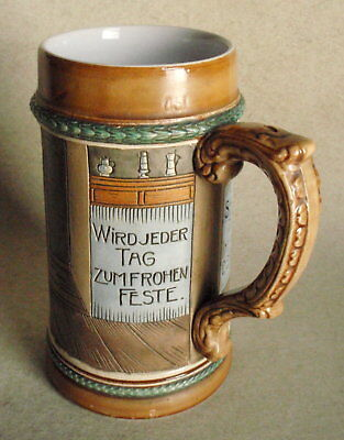 """Vintage """"J.W. REMY POTTERY"""" Stein #1292 – Engraved Scene and Writing"""