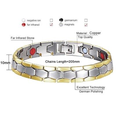 Gold Silver Tone Anti-fatigue Health Magnetic Health Care Therapy Wrist Bracelet