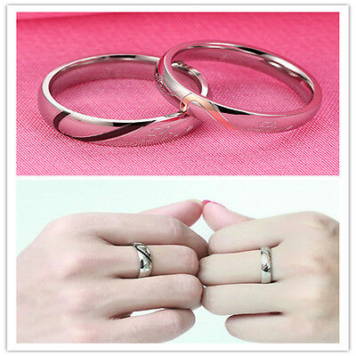 Couple Rings Forever Love Heart Stainless Steel Comfort Wedding Promise Ring
