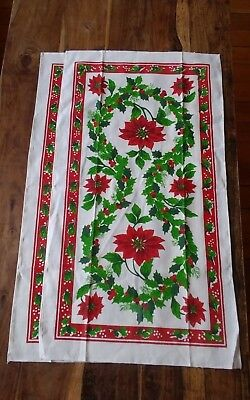 Vintage pair linen tea towels Christmas poinsettia holly green red bright crisp