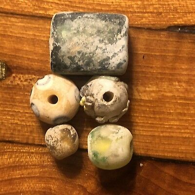 5 Ancient Or Medieval Glass Beads Mixed Lot Random Uncleaned Artifact Trade