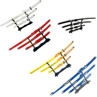 3Pc Set Japanese Samurai Ninja Katana Swords Good Quality Dragon Design 5 Colors