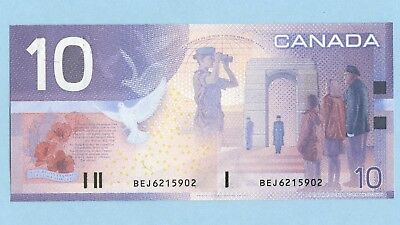 $10 Issue 2001 Bank Of Canada BC-63b-i Printed 2002 C-Unc Prefixed BEJ 6215902