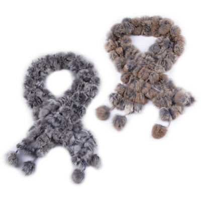 Winter Fashion Warm 100% Real Rabbit Fur Pom Pom Scarf Fur Cape Wrap Fur Collar
