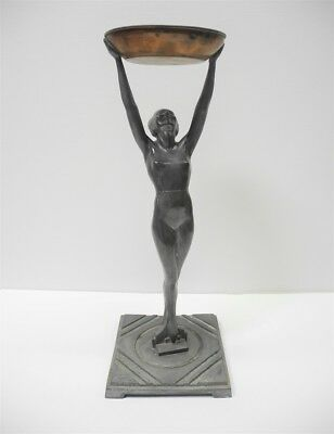 1930's FRANKART Art Deco Nude Woman Smoking Stand Ashtray