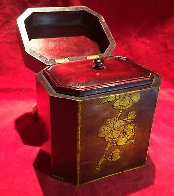 Antique 19th Century Tea Caddy With CHERRY BLOSSOMS