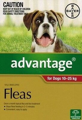ADVANTAGE FLEA CONTROL FOR DOGS 10-25 KG 4 x 2.5 mL Tubes Exp:  06/2019