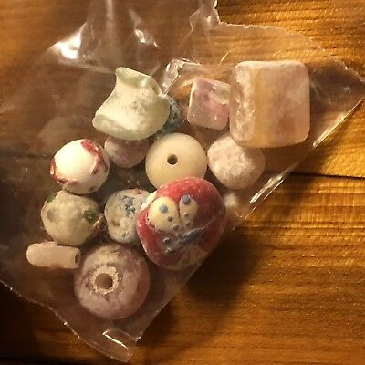 11+ Ancient Or Medieval Glass Beads Mixed Lot Random Uncleaned Artifact Trade