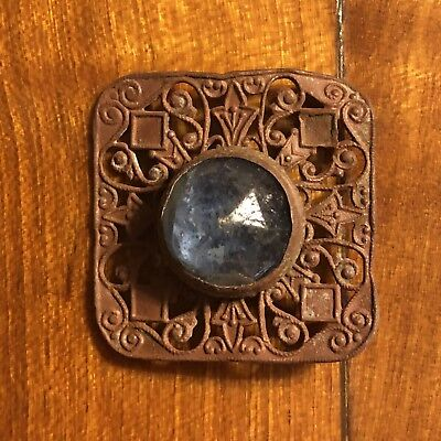 Old Antique Medieval? Pendant Copper Jewelry With Stone Artifact European Charm