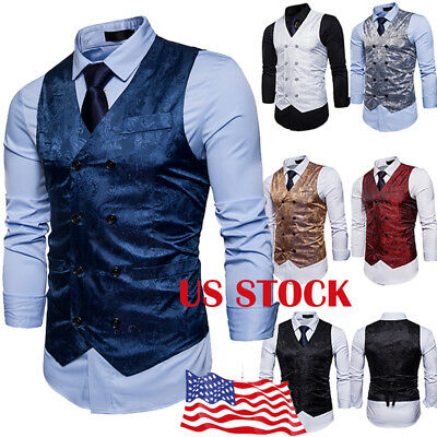 Mens Suit Plaid Vest Formal Casual Coat Double-Breasted Waistcoat Jacket