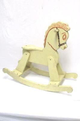 Wooden Rocking Horse Painted Solid Vintage Wood Kids Toy White Repurpose Upcycle