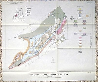 USGS MAINE GEOLOGY MOOSE RIVER SYNCLINE, 1961 WITH ORIGINAL MAP!! Scarce