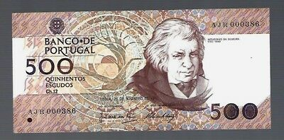 Portugal 500 Escudos S/N#000386 Low Serial Number!!!!!