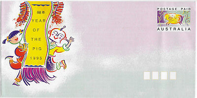 Christmas Island 1995 YEAR OF THE PIG Australia Chinese New Year prepaid cover