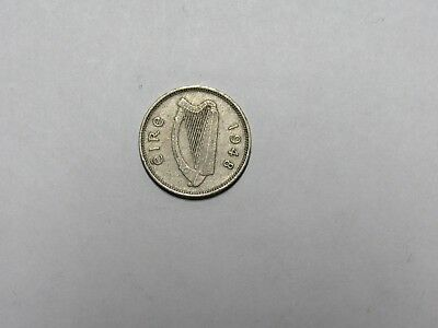 Old Ireland Coin - 1948 Three Pence Threepence Rabbit - Circulated, rim dings